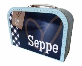 Koffertje licht blauw 25 cm, naar aanleiding van het geboortekaartje