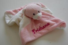 Tuttelpopje / knuffeldoek beer met naam, roze