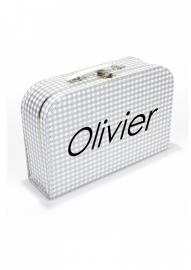 Zilver koffertje met witte ruit en naam, 25 cm of 35 cm