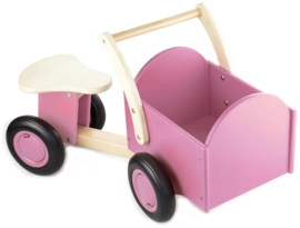 Houten bakfiets roze, New Classic Toys