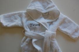 Baby Badjas met naam en/of geboortedatum, wit