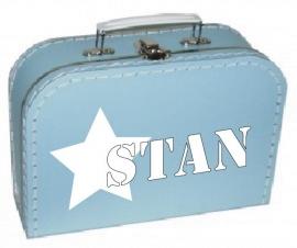 Blauw koffertje met naam, 25 cm