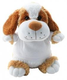 Knuffelhond met foto of opdruk geboortekaartje