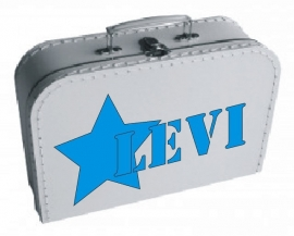 Wit koffertje Boy met naam, 25 cm