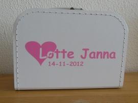 Wit koffertje Girl met naam, 25 cm
