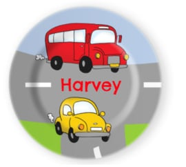 Eetbordje Bus en auto met naam