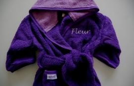 Kinderbadjas 1 tot 2 jaar met naam en/of geboortedatum, paars