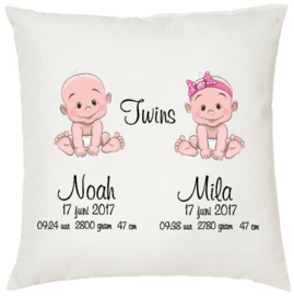 Geboortekussen tweeling *baby meisje en jongen*