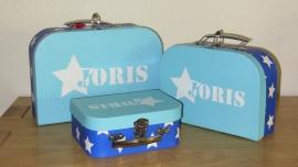 Blauw koffertje met naam, 19,5 cm