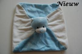 Tuttelpopje / knuffeldoek beer met naam, blauw