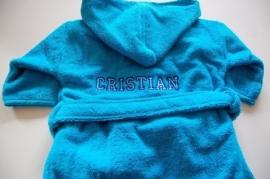 Kinderbadjas 2 tot 4 jaar met naam en/of geboortedatum, donkerblauw