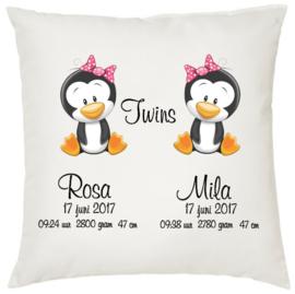 Geboortekussen tweeling *pinguin 2 meisjes*