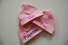 Babymuts maat 50-56, roze