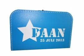 Blauw koffertje met naam, 30 cm of 35 cm