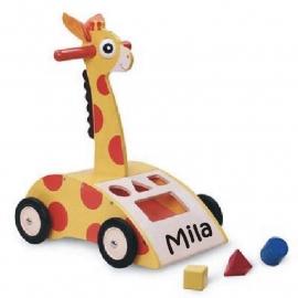 Houten loopwagen Giraffe met naam