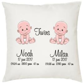 Geboortekussen tweeling *baby 2 jongens*