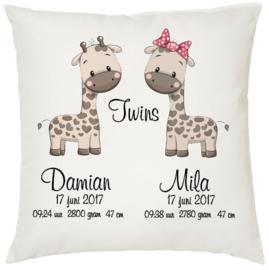 Geboortekussen tweeling *Giraffe meisje en jongen*