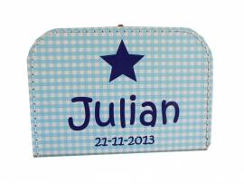 Koffertje blauw met ruit en naam, 25 cm of 30 cm
