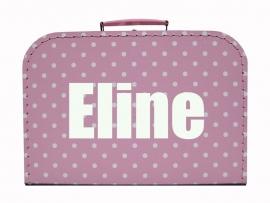 Roze koffertje met stippen en naam, 25 cm