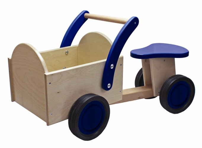 Houten bakfiets blauw, New Classic Toys