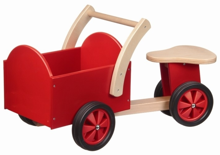 Houten bakfiets rood, New Classic Toys