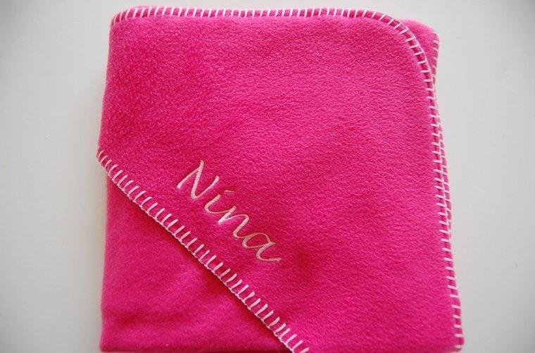Fleecedeken met naam - donker roze