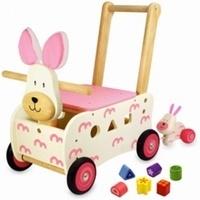 Houten loopwagen konijn met naam