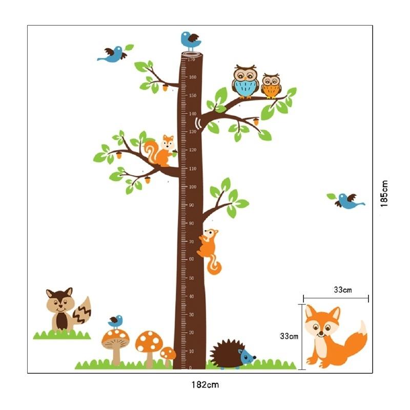 Groeimeter Boomstam met dierenvriendjes - A221