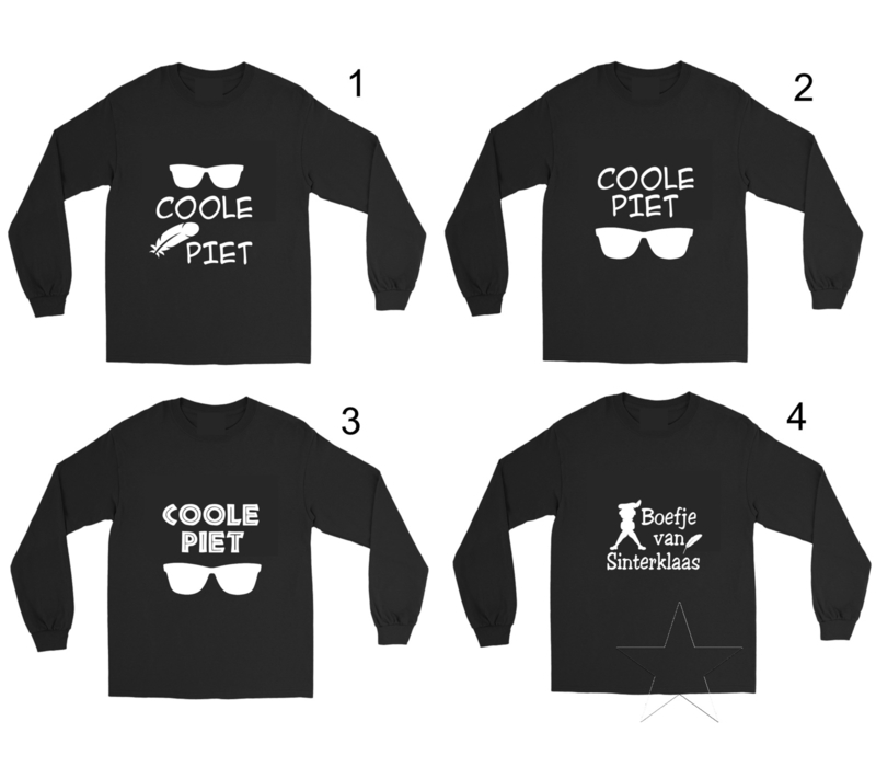Pietenshirt: Coole Piet met veer  (shirt is ook verkrijgbaar in het wit)