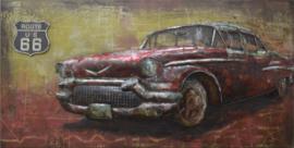 140x70 cm - 3D art Schilderij Metaal Amerikaanse Cadillac Route 66 - oldtimer - handgeschilderd