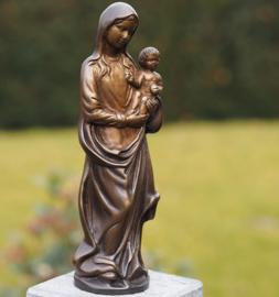 Beeld brons - Grafdecoratie - Maria en baby Jezus - Bronzartes - 22 cm hoog