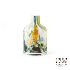 Design vaas Fidrio - glas kunst sculptuur - Bottle colori - mondgeblazen - 13 cm hoog --