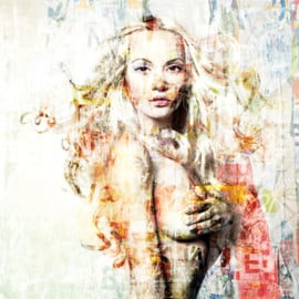 100 x 100 - Schilderij Dibond - Foto op aluminium - Naakte vrouw - Mondiart