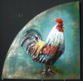 55 x 55 cm - 3D art Schilderij Metaal Haan - metaalschilderij - handgeschilderd