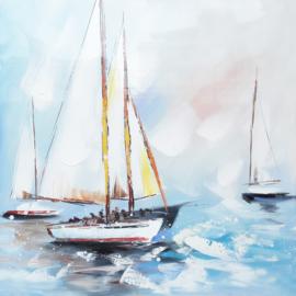 80 x 80 cm - Olieverfschilderij - Zeilboten