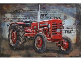 3D Schilderij Metaal - Rode Tractor - oldtimer - 120x80 cm