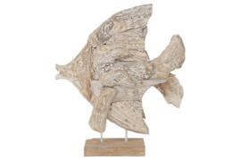 Houten kunst - Beeld - sculptuur - houten vis - drijfhout white wash