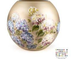 Design vaas bolvase - Fidrio HORTENSIA - HANDPAINTED - glas, mondgeblazen bloemenvaas - diameter 40 cm