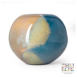 Design vaas Fidrio - glas kunst sculptuur - bolvase - atlantic - mondgeblazen - 20 cm hoog
