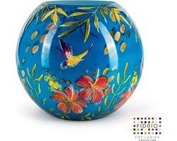 Design vaas bolvase - Fidrio KOLIBRI - HANDPAINTED - Bloemenvaas glas, mondgeblazen - diameter 40 cm --