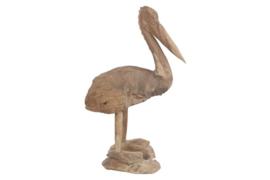 Houten kunst - Beeld - sculptuur - houten pelikaan