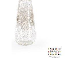 Design vaas Gloriosa - Fidrio BUBBLES CLEAR - glas, mondgeblazen bloemenvaas - hoogte 22 cm --
