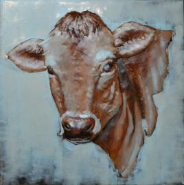 80 x 80 cm - 3D art Schilderij Metaal Bruine Koe - metaalschilderij - handgeschilderd