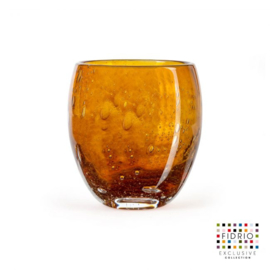 Design vaas  - Fidrio AMBER - glas, mondgeblazen bloemenvaas - diameter 11,5 cm hoogte 20 cm --