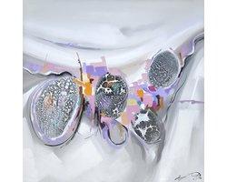 100 x 100 cm - Olieverfschilderij - Abstract roze - canvas - handgeschilderd