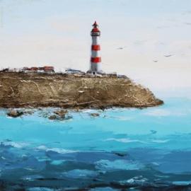 100 x 100 cm - Olieverfschilderij - Vuurtoren - handgeschilderd