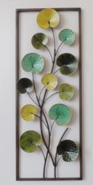 28 x 73 cm - wanddecoratie schilderij metaal - Frame Art - Plant