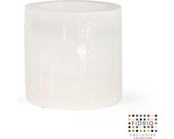 Design kaarshouder Hurricane XLARGE - Fidrio SELENITE - Bloemenvaas glas, mondgeblazen - Ø 14 cm hoogte 14 cm