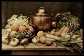 120 x 80 cm - Plexiglas schilderij - Groenten en fruit - klassieke kunst afbeelding op acryl - oude meesters!