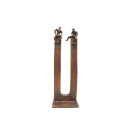 Bronzen beeldje - sculptuur - figuur - de ontmoeting gepatineerd